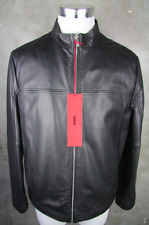Hugo Boss Luxury Leather Jacket Laudin L 50 Black
