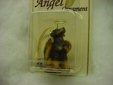 Doberman dog Angel Ornament Resin Handpainted Figurine Christmas Black Uncropped