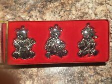 """Set of 3 Gorham Silverplated """"Teddy Bear"""" Ornaments - Free Shipping!"""