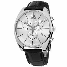 Calvin Klein Men's Exchange Silver Dial Leather Strap Chronograph Watch K2F27120