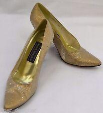 Stuart Weitzman Gold shimmer Evening high Heel heels Shoes sexy pumps 6.5 Spain