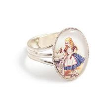 Alice in Wonderland ring DRINK ME eat me charm silver adjustable bottle tea