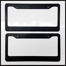 Black Blank License Plate Frame Set truck Plain Plastic Cover Tag Holder JDM Car