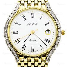 GENEVA Swiss 14k Yellow Gold Diamond Unisex Dress Watch