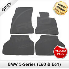 BMW 5-Series E60 E61 2003-2010 Velcro Pads Tailored LUX 1300g Carpet Mats GREY