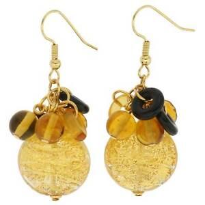 GlassOfVenice Murano Glass Autumn Colors Gold Foil Dangle Earrings