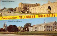 Philadelphia Pennsylvania 1957 Postcard VILLANOVA UNIVERSITY Field House Stadium