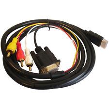M28 180cm HDMI macho a VGA 15pol conector + 3rca Av cables de audio para el reproductor de HD