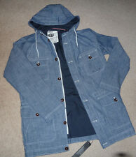 Mens  Chambray Hooded Summer Jacket in blue by Goodsouls Size M - BNWT