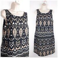Monsoon Black/Brown Tribal Inspired Leaf Print Shift Dress UK14 Summer Cruise