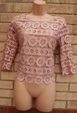 NEW LOOK DUSTY PINK FLORAL LACE CROCHET SLIP INSIDE BLOUSE TUNIC TOP SHIRT 10 S