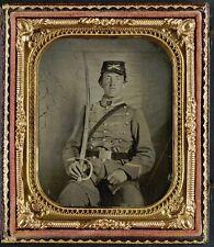 Photo Civil War Confederate 1st Virginia Cavalry w Sword and Adams Revolver