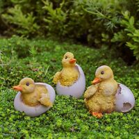 A Set of 3 Hatching Duckling Garden Ornaments Bird or Animal Feature