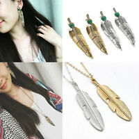 Unique Women Feather Pendant Long Chain Necklace Sweater Statement Jewelry Gift