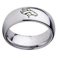 Denver Broncos Football Team Stainless Steel Silver Ring Band Gifts Size 6-13