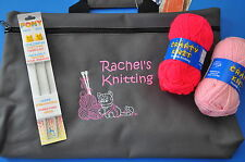 Personalised Children's Knitting Craft Storage Bag -Starter Kit - Needles & Wool