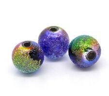 100  8mm round RAINBOW stardust beads Jewellery making BARGAIN SALE
