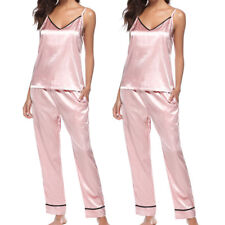 Women Lady Silk Satin Pajamas Set Pyjama Sleepwear Nightwear Loungewear Homewear