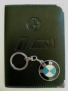 PORTE CLES BMW en METAL émaillé + 1 ETUI PORTE PAPIERS en SIMILI LOGO AUTOMOBILE