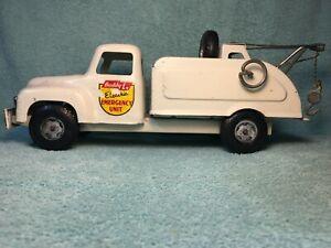 Vintage Buddy L Electric Emergency Unit Pressed Steel Tow Truck Wrecker