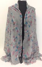 Women Summer Cotton Voile Scarf Wrap Birds Print Silk Chiffon Shawl ,Gray #N