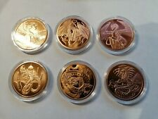 More details for world of dragons   complete set of six .999 copper 1 oz bullion rounds