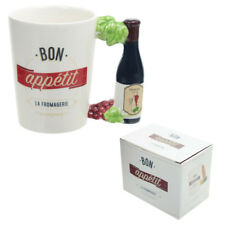 Fun Ceramic Wine Bottle And Vines Shaped Handle Mug Great B'Day Gift Comes Boxed
