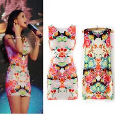 Sexy Women Floral Print Sleeveless Cotton Clubwear Summer Slim Mini Dress S US