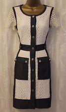 Karen Millen Broderie Lace Denim Shirt Boxy Pocket Tea Party Cruise Dress 8 36