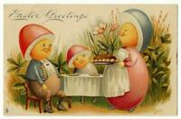 Easter Greetings TUCK 523 Series Vintage 1906 Humanized Eggs EGG FAMILY Postcard