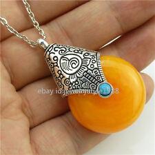Tibet Silver Vintage Necklace Buddhism Orange Resin Pendant Charm Alloy Antique