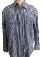 Nautica mens shirt button down long sleeve Size 16 34/35 blue white striped