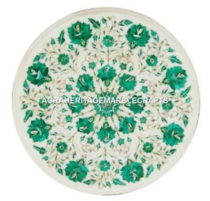 White Marble Coffee Center Table Top Inlay Malachite Floral Art Home Decor H2421