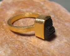 Gold plated brass rough black tourmaline stone ring UK I½-¾/US 4.75. Gift Bag.