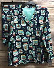 Nick Nora Christmas Womens Snow Globes Monkey Pajama Set NWT *Please Read*
