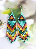 Bohemian Seed Bead Fashion Earrings/ Mint Multicolor Fringe Earrings