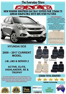 Genuine Sheepskin Car Seat Covers For Hyundai IX35 2009-2018 Pr 22MM Airbag Safe