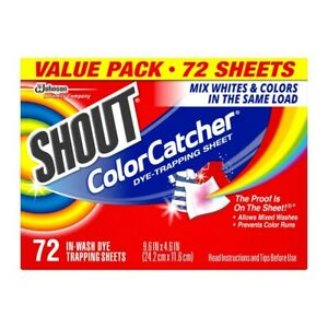 Shout Color Catcher Value Pack Laundry Sheets [72 pack Washing sheets] NEW