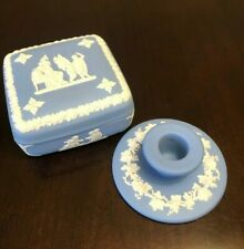 Jasperware Wedgwood England Covered Trinket Jewelry Dish & Small Candlestick