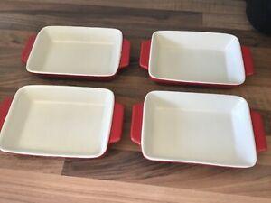 4 x Vintage Kuhn Rikon Retro Red Pie/Gratin/ Tapas Dishes