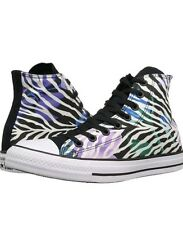 Converse All Star Black/White/Violet Zebra Striped Sneakers Shoes Women's Size 5