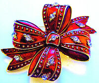 Magnificent RIBBON Christmas Gift BOW Red Rhinestone Vintage Inspired Brooch