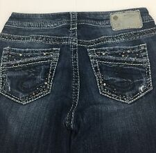 Silver Aiko Boot Cut Blue Jeans Studded Distressed, Destroyed Misses W26/ L33
