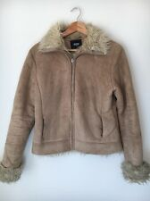 Pilot Size 10 Light Tan Faux Suede and Fur Lined Jacket <T8203