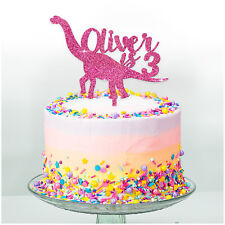 Kids Birthday Cake Topper DINOSAUR PERSONALISED Cake Decoration Boys Girls Party