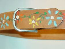 Vintage 60's 70's Hippie Flower Power Handmade Leather Tooled Belt Boho