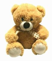 Target Light Brown Teddy Bear Checked Ribbon Bow Tie 25cm Seated Soft Plush Toy