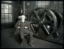 1900s Thomas Edison w/ Invention Large Glass Plate Photo Camera Negative #2