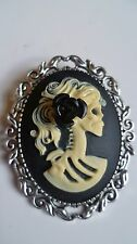 Day of The Dead Lady Skull & Black Rose Cameo Brooch Gothic Steampunk Halloween