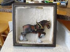 VINTAGE 1970'S BUDWEISER CLYDESDALE HORSE LIGHT UP BEER SIGN WITH NEW GLASS
